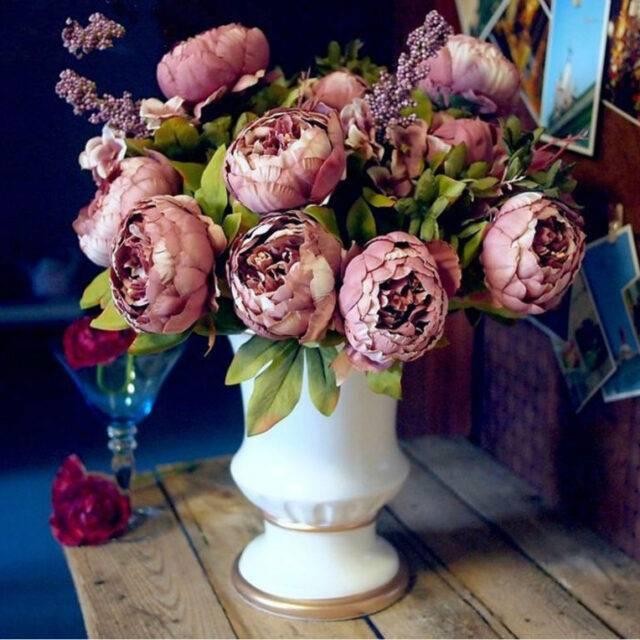 Artificial Decorative Silk Peony Flowers