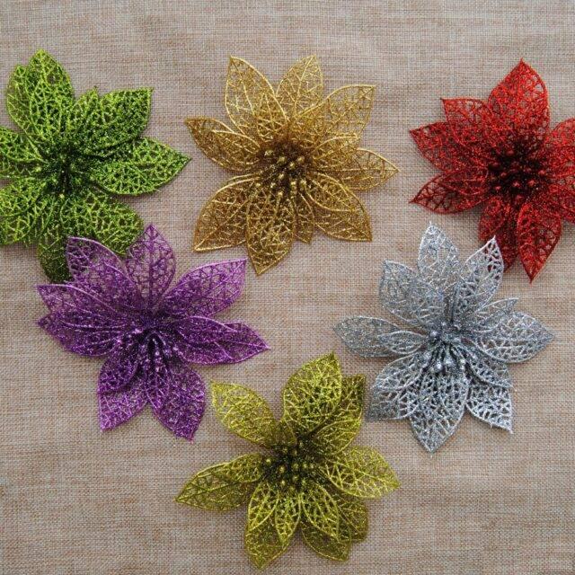 Lace Plastic Glittering Decorative Flowers