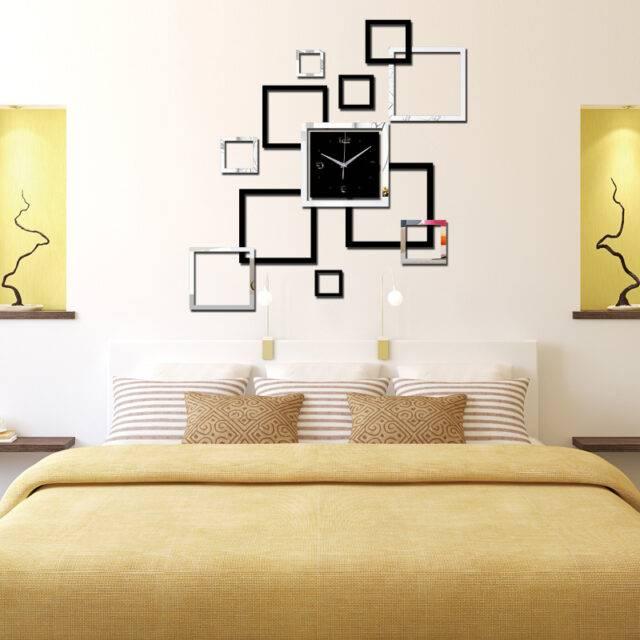Quartz Acrylic Decorative Wall Clock with Mirror Stickers