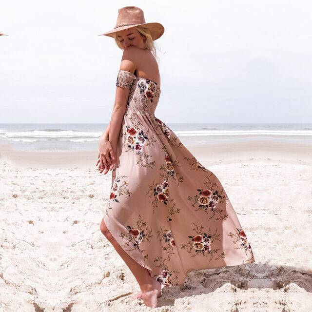 Women's Boho Dress With Floral Print