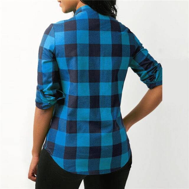 Women's Top Long Sleeved Checkered Cotton Blouse