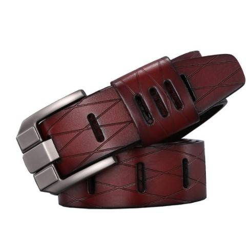 Men's Geometric Patterned Leather Belt
