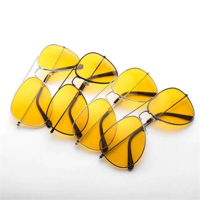 Men's Retro Style Sunglasses with Large Yellow Lenses
