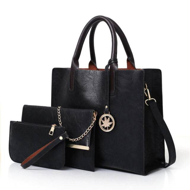 Set of 3 Pcs Matching Leather Bags for Women