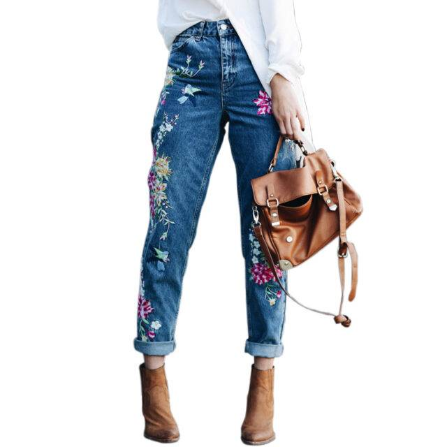 Women's Flowers Embroidered Straight Jeans