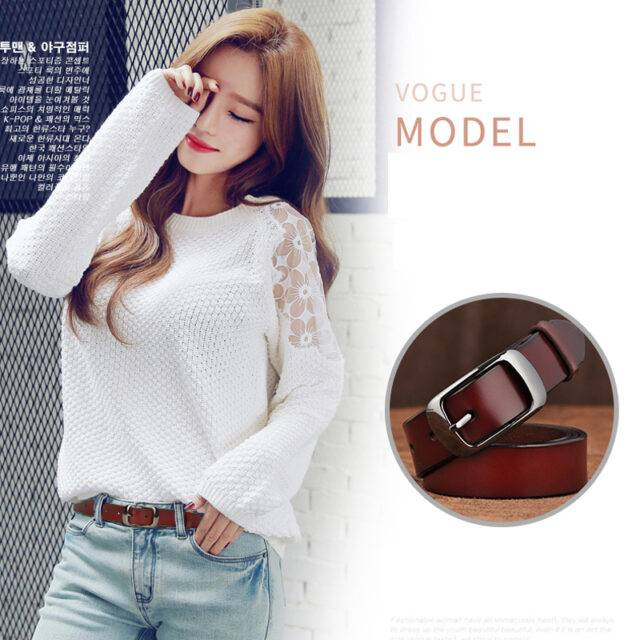 Fashion Solid Genuine Leather Belts for Womens