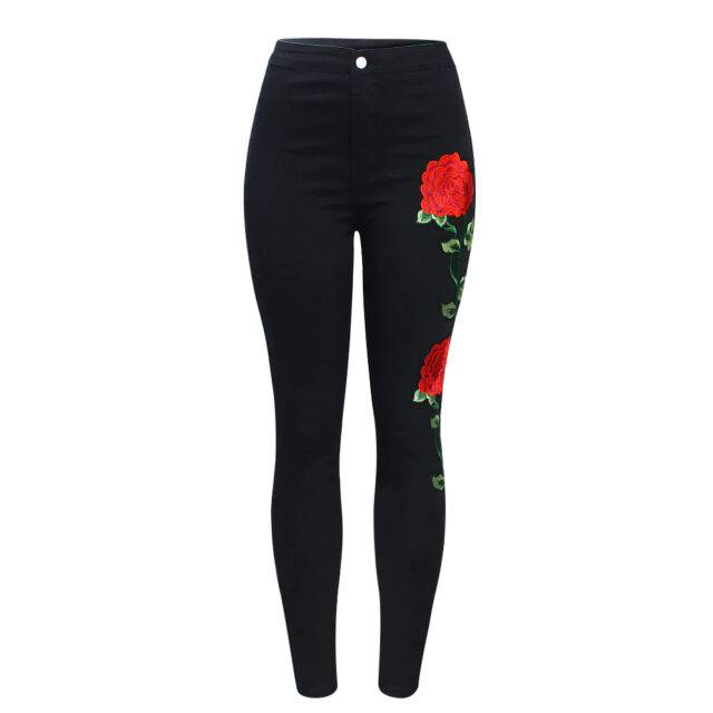 Women's Skinny High Waist Jeans With Rose Embroidery on Legs