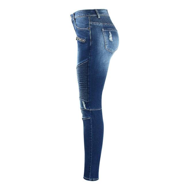 Rugged Skinny Mid Waist Jeans For Girls Womens