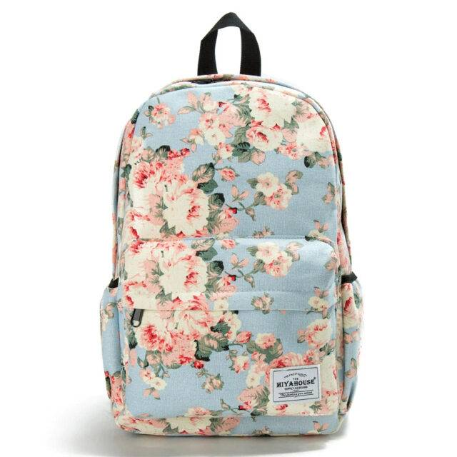 Women's Printed Canvas Backpack