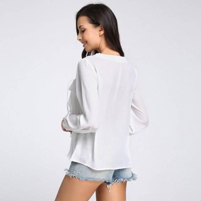 Women's Draped Long Sleeve Summer Blouses Top